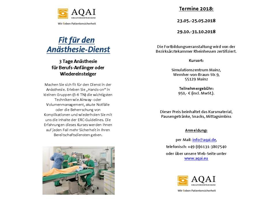 Fit für den Anästhesie-Dienst | Mainz | 29. Oktober 2018 - 31 ...